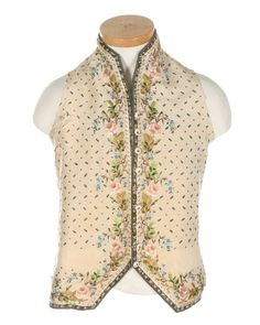 Waistcoat, ca. 1800. Cream silk, lavishly embroidered with floral motifs.