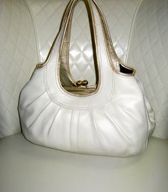 I'm auctioning 'COACH Ergo Ivory With Gold Leather Trim Hobo Satchel' on #tophatter