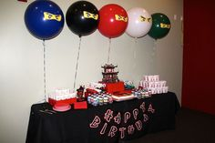 LEGO Ninjago party on Catch My Party.  I loved the giant balloons with the Ninjago eyes.