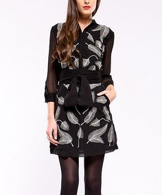 Take a look at this Black & White Belted Feather Dress by Almatrichi on #zulily today! $50 !!