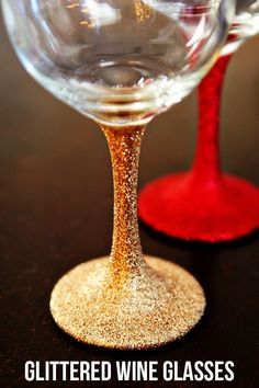 DIY Glittered Wine Glasses