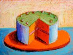 Öl-Pastell-Kreide: Einen Kuchen gestalten. Angelehnt an die Werke von Wayne Thiebaud.