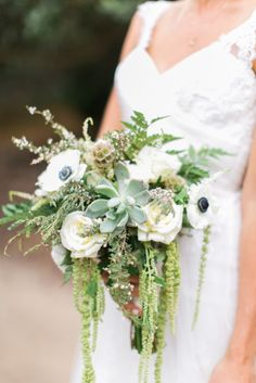 Succulents, anemone, and greenery: http://www.stylemepretty.com/2014/11/26/california-spring-garden-wedding/ | Photography: Troy Grover - http://troygrover.com/