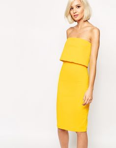 Image 1 of Lavish Alice Bandeau Body-Conscious Midi Dress with Cropped Detail