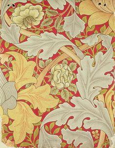 William Morris - Acanthus leaves and wild rose on a crimson background, wallpaper design