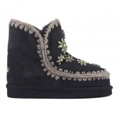 e5a3207ae20 mou eskimo 18 cm crystal flowers off black  mou  boots  fashion  winterboots