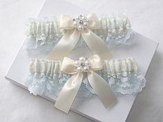 Wedding Garter Set  Ivory Garters with Beautiful by ElegantGarters, $32.00