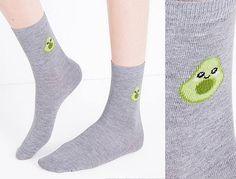 Avocado socks crew socks gray socks womens socks novelty socks