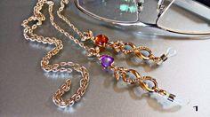 Eyeglasses Chain jewel/ Catenina gioiello occhiali/ Cordino made in Italy handmade/Catenina per occhiali con strass /Collana Keeper di Athiss su Etsy