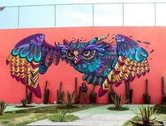 Owl Graffiti / Street Art by Farid Rueda 3d Street Art, Murals Street Art, Graffiti Murals, Amazing Street Art, Art Mural, Street Art Graffiti, Street Artists, Wall Art, Graffiti Artists