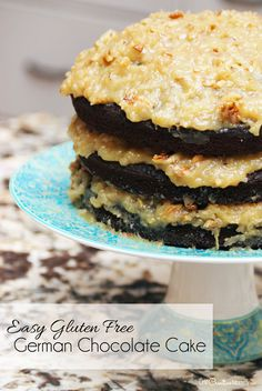 Easy Gluten Free German Chocolate Cake Recipe. This cake isn't going to win a beauty contest, but it is SOOO delicious!