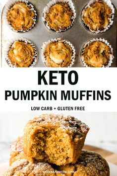 Keto Pumpkin Muffins are a low carb breakfast or keto snack idea that are gluten free and sugar free. Delicious, moist, and easy to make for keto meal prep. ideas Keto Pumpkin Muffins are Low Carb Snacks Pumpkin Cream Cheese Muffins, Pumpkin Cream Cheeses, Low Carb Desserts, Low Carb Recipes, Dessert Recipes, Breakfast Recipes, Meal Prep For Breakfast, Carb Free Meals, Pumpkin Recipes Keto