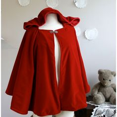 Red Riding Hood Cape for Adults Hooded Cloak in Red Wool or Velvet ($159) ❤ liked on Polyvore featuring outerwear, cape, costume, jackets, red, brown, women's clothing, wool capelet and hooded capelet