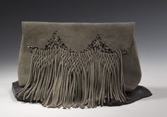 Anat Gelbard - handmade leather fringe clutch