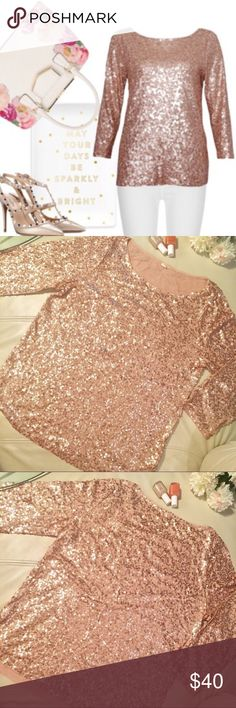 J. Crew Rose Gold sequin top Sparkle and shine with this gorgeous J. Crew Rose Gold sequin top! 3/4 sleeves, quality made in the usual J Crew fashion. EUC, no missing sequins. I believe this retailed for $98, so get the fab look for a fraction of the price! J. Crew Tops