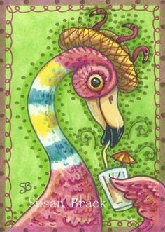 FAIRY ON A PINK FLAMINGO | TIE DYED FLAMINGO - by Susan Brack from FLAMINGO