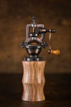 Handmade Walnut Wood Pepper Grinder made in North Carolina.  BourbonandBoots.com