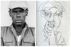 Allison Kunath: Blind Contour - Ink #Cartooning #Drawing #Illustration http://deface365.blogspot.gr/2013/12/allison-kunath.html#.UrFUBHntnAQ