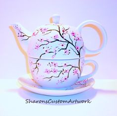 Hand painted Tea for One Tea Pot  with Cup and Saucer Cherry Blossoms  Peacock Feathers  Fall Leaves Poppies 3 Piece Tea Set For One by SharonsCustomArtwork on Etsy https://www.etsy.com/listing/180184845/hand-painted-tea-for-one-tea-pot-with