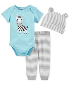 First Impressions Baby Boys' 3-Piece Zebra Bodysuit, Pants & Hat Set, Only at Macy's