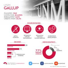 Infographic describing the unique community of the University of New Mexico- Gallup!