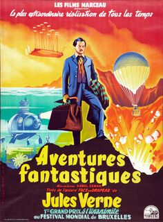 The Fabulous World of Jules Verne was a beautiful and playful fantasy of dreamlike images concocted by the wonderful Czech director/designer Karel Zeman. Jules Verne, Grand Prix, Movie Titles, Movie Posters, Sci Fi Horror, Fantasy Films, Animation, Film Director, Plein Air