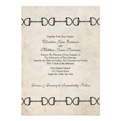 Classic Equestrian Wedding Invitations featuring english horse bits on a vintage looking background. Great for the horse lover!