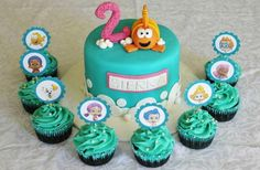Lydia Bakes: Bubble Guppies Cake and Cupcakes Bubble Guppies Cupcakes, Bubble Guppies Birthday Cake, Bubble Birthday Parties, Bubble Guppies Party, Bubble Party, Birthday Fun, Birthday Party Themes, Birthday Decorations, Second Birthday Ideas