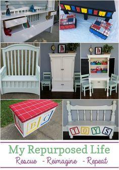 kids organization ideas using repurposed furniture items #MyRepurposedLife #repurposed #furnitureprojects #organization #kids