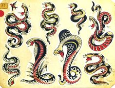 Snakes Tattoo Flash | KYSA #ink #design #tattoo