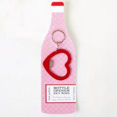 Heart shaped key ring bottle opener.