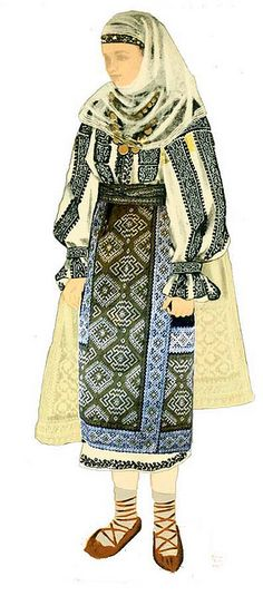 Traditional Romanian Folk Costume from Southern Romania, an area called Muscel, county of Arges. Ethnic Outfits, Ethnic Dress, Ethnic Clothes, Folk Costume, Costume Dress, Costume Ethnique, Folk Embroidery, Embroidery Patterns, Folk Dance