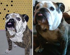 """Jennifer Davis is one of my favorite artists (her recent series of """"shooting target"""" paintings knocked my socks off) and dogs make a pretty regular appearance in her work. I was super excited to see that she's now offering custom pet portraits in her signature style!"""