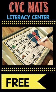FREEBIE kindergarten literacy center - CVC words - practice spelling on a magnetic cookie tray FREE printable mats #kindergarten #prek #cvcwords #kindergartenphonics