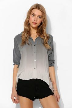 Moon And Sky Dip-Dye Button-Down Shirt - Urban Outfitters