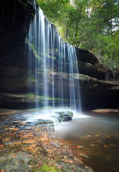 Beautiful upper caney creek falls in the beginning of autumn.
