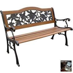 DC America SLP2660BRSP Rose Resin Back Park Bench Cast Iron Legs Rust Free Resin