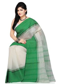 White and Green Cotton Tant Handloom Saree with Blouse: SPN1966