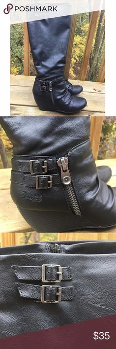 Blowfish Black Wedge Heel Riding Boots Excellent used condition Blowfish boots. These have only been worn a few times. There are a few wear and tear marks on the heels. Zippers on the inside of the boots. Heel measures about 2 1/2 inches. Sized 8. Blowfish Shoes Winter & Rain Boots