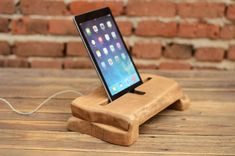 Wood iPad Docking Station, Wood Tablet Stand, iPad holder,  Wood iPad Dock, Solid Wood iPad Charging Station, Christmas Gift, Mens Gift