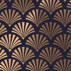 Art Deco Shell Pattern Coffee Mug by Tamsin Lucie - 11 oz Motifs Art Nouveau, Motif Art Deco, Art Deco Design, Pattern Art, Pattern Design, Molduras Vintage, Wall Texture Design, Surface Design, Art Deco Wallpaper