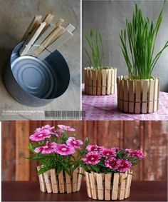 Easy and Inexpensive flower pots~ go a step further and spray paint the clothespins color of your choice.