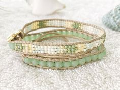 Spring Green Sea Glass Bracelet Beaded Leather Wrap by PinaHina