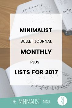 Minimalist Bullet Journal Monthly for January + Listst for 2017