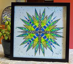 Hand Drawn Pen and Ink and Watercolor Mandala - Framed Wall Art - Small Home Decor - Unique Pattern - Original Painting - Intricate Drawing by CreateThriveGrow on Etsy
