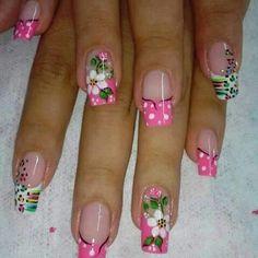 Cute Nail Art, Cute Nails, Pretty Nails, Fabulous Nails, Gorgeous Nails, French Nails, Flower Nails, Cute Nail Designs, Spring Nails