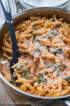 Penne with Sun-Dried Tomato Cream Sauce and Spinach Gluten free