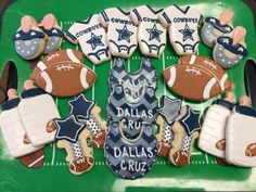 Dallas Cowboys Football Baby Shower Decorated Sugar Cookies by I Am the Cookie Lady