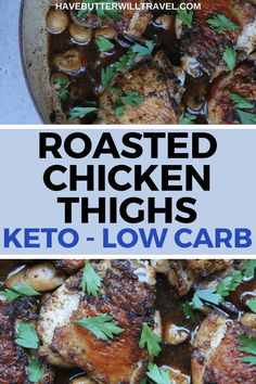 Looking for the ultimate in keto comfort food. You need to try this delicious keto roasted chicken thighs with mushrooms. from Ditch The. Low Carb Chicken Recipes, Low Carb Dinner Recipes, Keto Dinner, Side Dish Recipes, Lunch Recipes, Diet Recipes, Keto Chicken, Salmon Recipes, Dinner Healthy