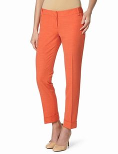 I bought orange pants today - awesome. Drew Cuffed Ankle Pant from The Limited.